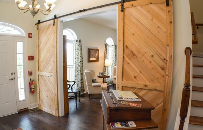 Library barn doors at St Francis Cottage