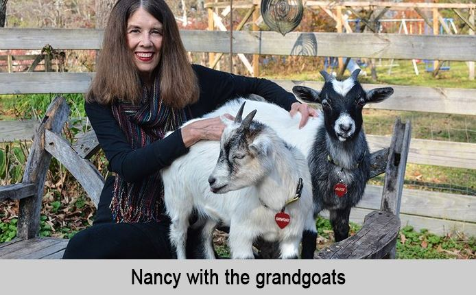 Nancy with the GrandGoats, Snowflake and Alice