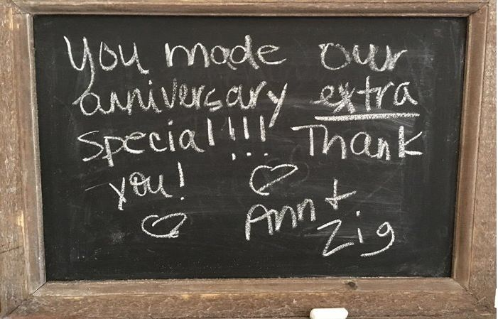 Guest comments on blackboard at St Francis Cottage