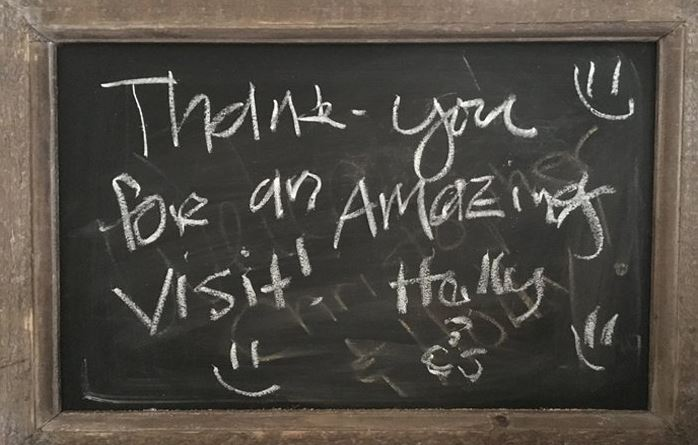 Guest Comments on chalkboard at St Francis Cottage