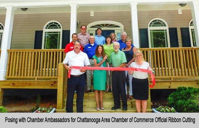 Posing with Chamber Ambassadors for Chattanooga Area Chamber of Commerce Official ribbon cutting.