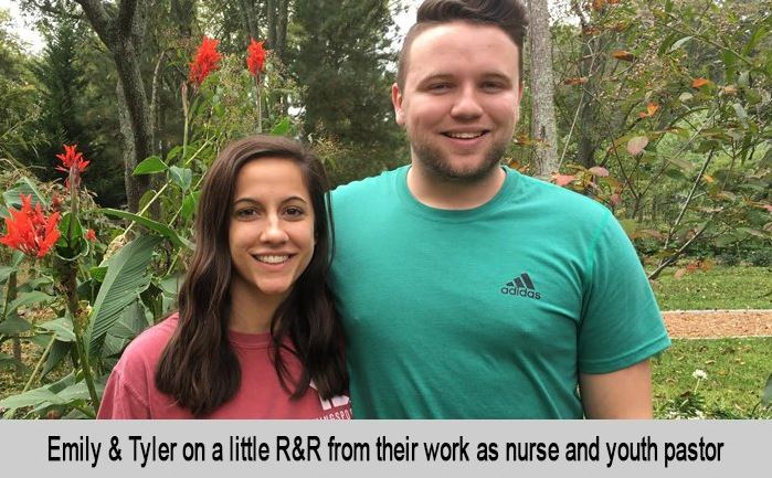 Emily and Tyler on a little R&R from their work as a nurse and youth pastor.