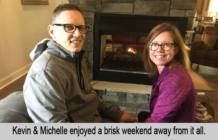 Kevin and Michelle enjoyed a brisk weekend away from it all.
