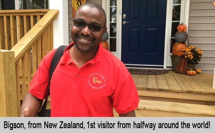 Bigson, from New Zealand, 1st visitor from half way around the world.