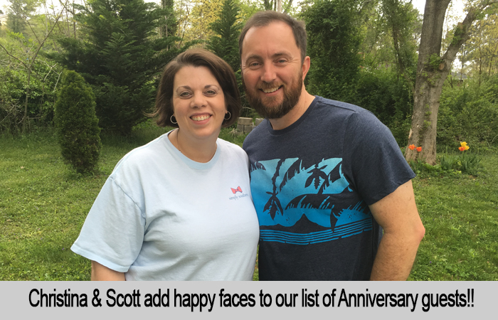 Christina and Scott add happy faces to our list of Anniversary guests.