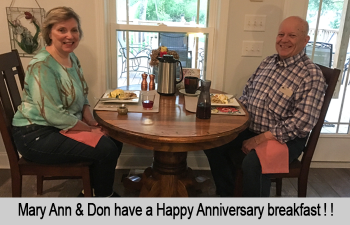 Mary Ann and Don have a Happy Anniversary breakfast.