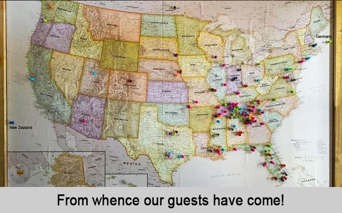 Map of from whence our guests have come, late 2017