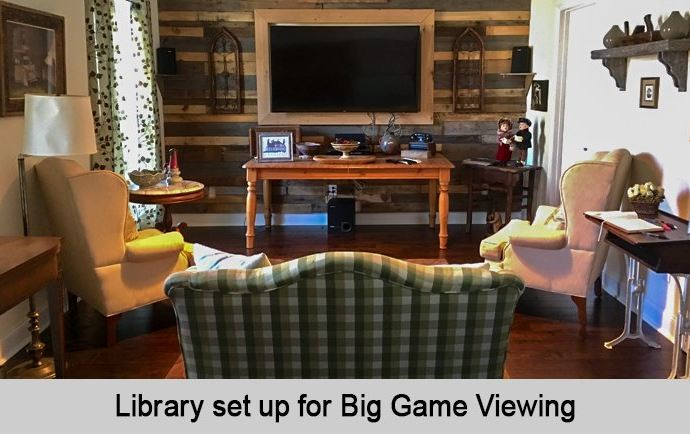 Library set up for Big Game viewing.