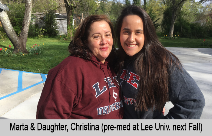 Marta and Daughter, Christina (pre-med at Lee University next Fall)