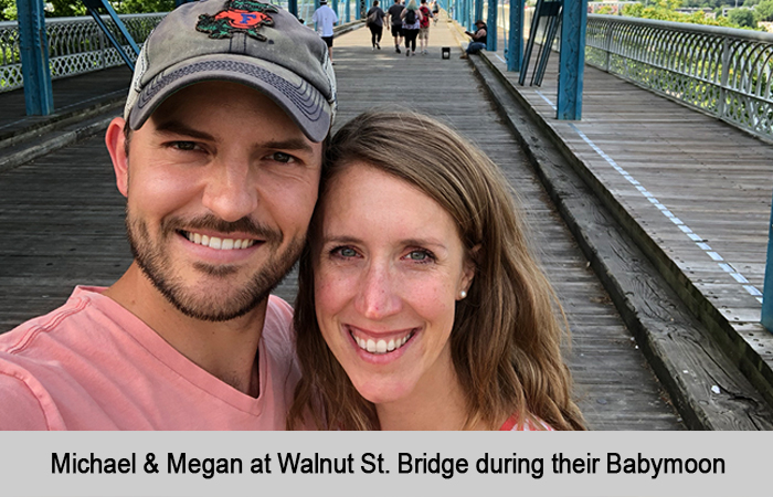 Michael and Megan at Walnut St. Bridge during their Babymoon.