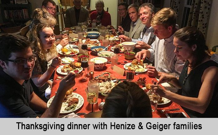 Thanksgiving dinner with Henize and Geiger families.