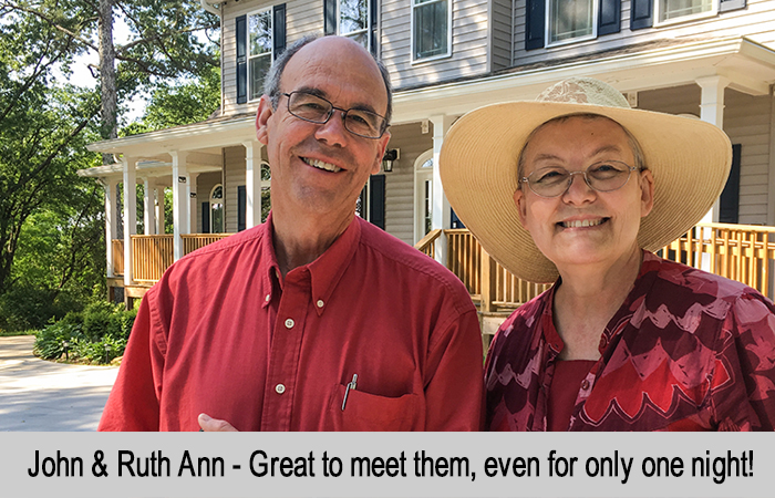 John and Ruth Ann - Great to meet them, even if only for one night.
