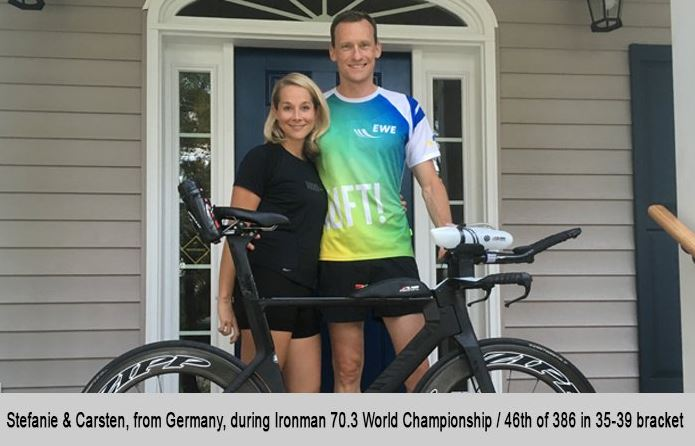 Stephanie and Carsten, from Germany, during Ironman 70.3 World Championship.