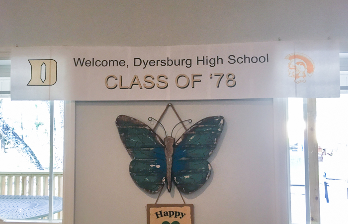 Dyersburg Class of 78 banner at St Francis Cottage