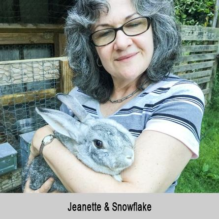 Jeanette and Snowflake the bunny.