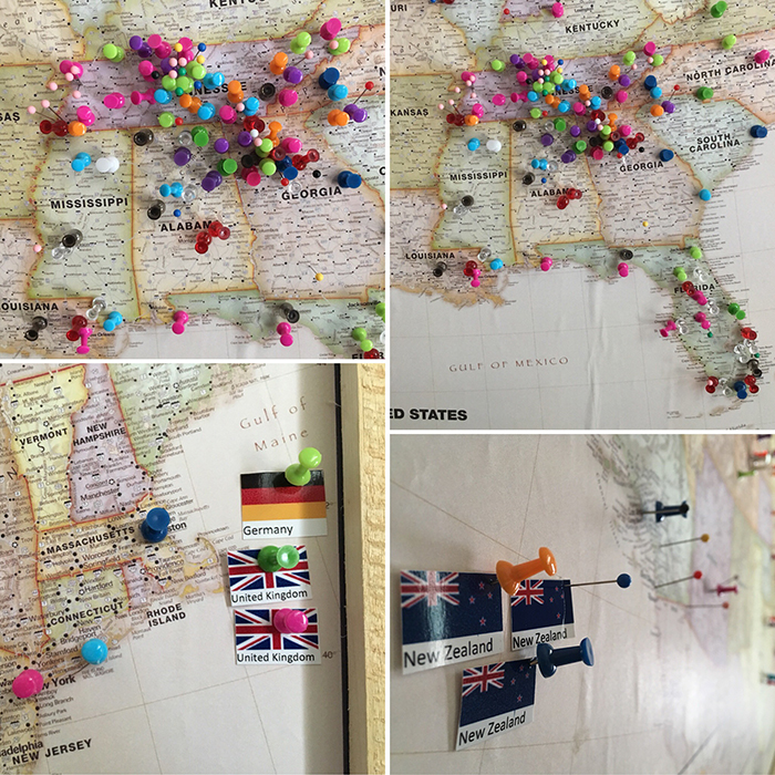 Our map of pins from when people have come.