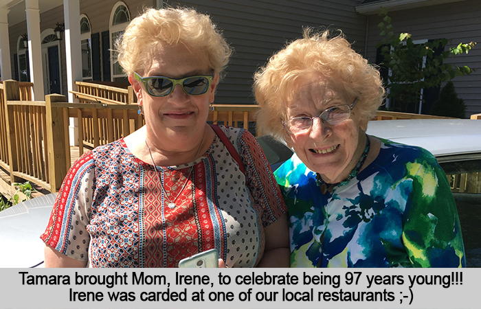 Tamara brough Mom, Irene, to celebrate being 97 years young!! Irene was carded at one of our local restaurants. ;-)