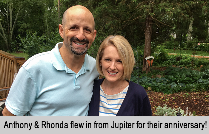 Anthony and Rhonda flew in from Jupiter for their anniversary.