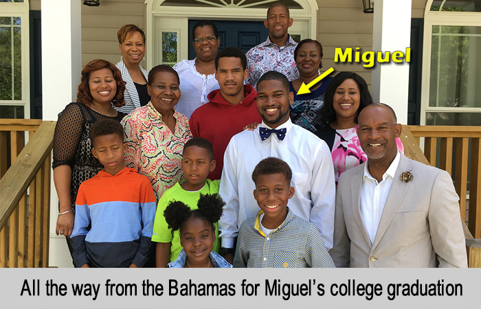 All the way from the Bahamas for Miguel's college graduation