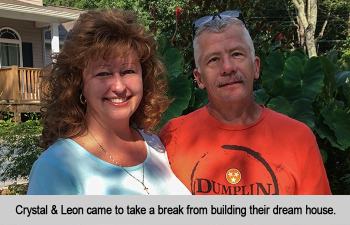 Crystal and Leon came to take a break from building their dream house.