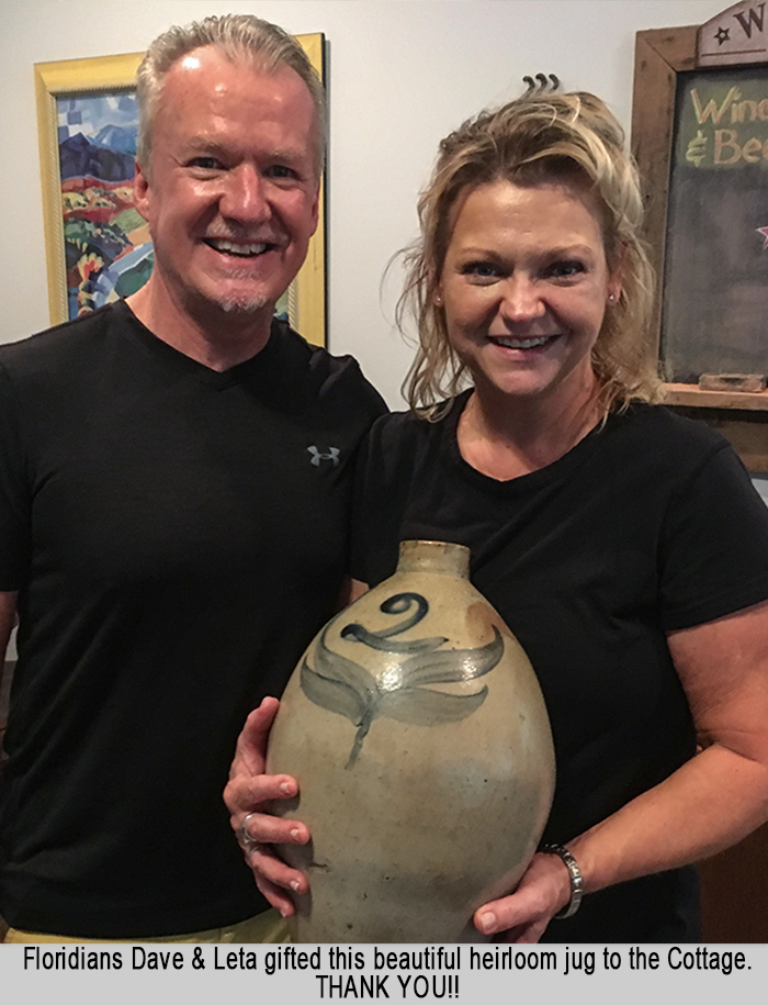 David and Leta with Heirloom Jug at St Francis Cottage