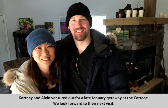 Kortney and Alvin ventured out for a late January getaway at the Cottage.