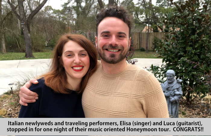 Italian newlyweds and traveling performers, Elisa (singer) and Luca (guitarist) stopped in for a one night of their music oriented honeymoon tour.  CONGRATS!