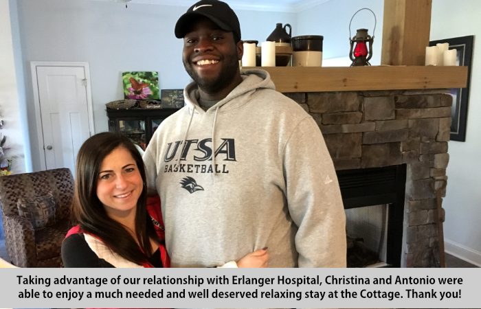 Taking advantage of our relationship with Erlanger Hospital, Christina and Antonio were able to enjoy a much needed and well-deserved relaxing stay at the Cottage.