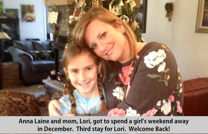 Anna Laine and mom, Lori got to spend a girl's weekend away in December.  Third stay for Lori.  Welcome back!