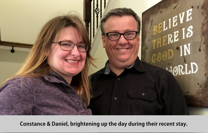 Constance and Daniel brightening up the day during their recent visit.