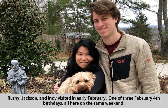 Ruthy, Jackson, and Indy visited in early February, one of three February 4th birthdays, all here on the same weekend.